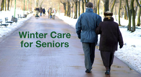 Winter Care for Seniors - photo of elderly couple walking in winter